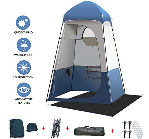 Large Space Outdoor Privacy Tent With Removable Floor Mat For Changing/Shower/Toilet - Foldable Tear Resistant Waterproof Shower Room   Built-in Storage Pocket, With Carry Bag, 63x63x94.5inches