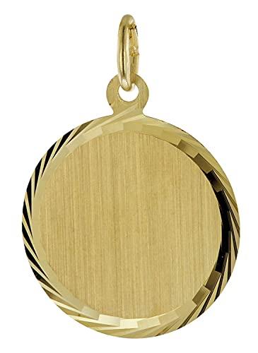 trendor Gravurplatte Anhänger mit Namen 333 / 8K Gold Ø 16 mm inklusive Wunsch-Gravur Gravurschmuck aus Echtgold, Schmuckstück für Damen und Herren, 51062