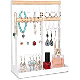 Soporte para collar con bandeja para almacenar collares largos, pulseras, anillos, relojes, accesorios - blanco
