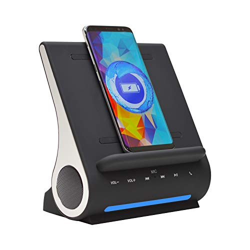Azpen Dockall D108 Wireless Charging Dock w/Bluetooth Speakers. Qi-Certified Wireless
