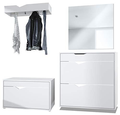 Vladon Garderobe Kolmio 190 x 185 x 33 cm Flurgarderoben Set, Korpus in Weiß Matt, Fronten in Weiß matt | Große Farbauswahl
