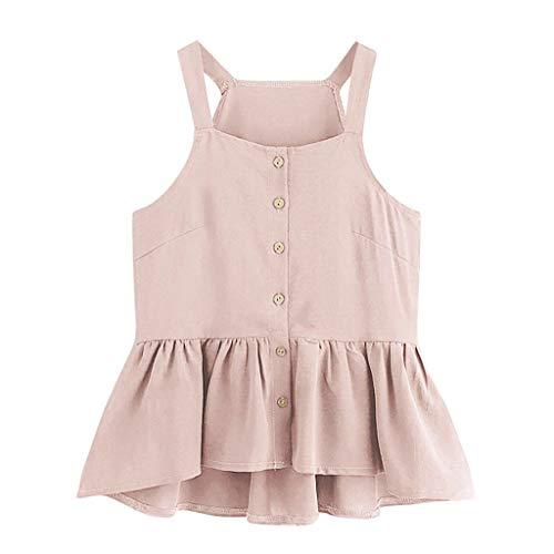 YWLINK Mode Damen Retro Camisole Top äRmellose Crop Einreihig RüSchensaum Elegant Oberteile(Rosa,XL)
