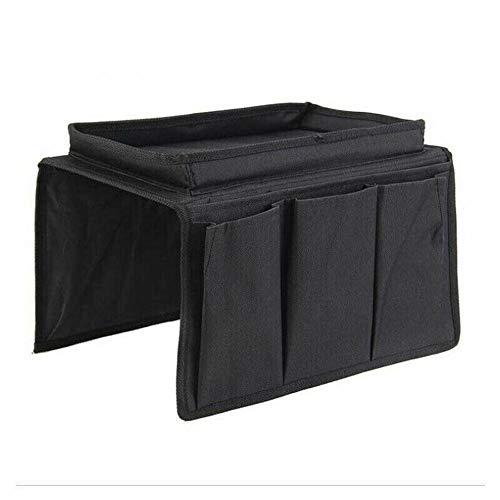 YDGHD 1pc bolsillos sofá silla resto organizador bolsa bandeja sillón Caddy almacenamiento soporte mesa (negro)