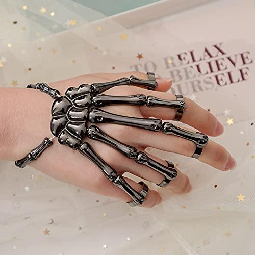KTMAID Halloween Totenkopf Skelett Hand Armband, Totenkopf Finger Metall Hand Armband für Herren und Damen Schmuck Halloween Fasching Karneval Party,Totenkopf Finger Armband (schwarz*1)