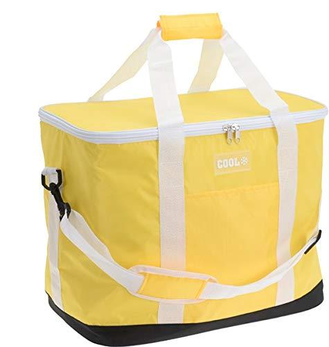 DRULINE Kühltasche Thermotasche Isoliertasche Kühlkorb Eisbox, Längere, Zusammenklappbare,Auslaufsichere Lunchtasche, 30L Große Kühlbox für Camping Picknick Familienaktivitäten im Freien Gelb