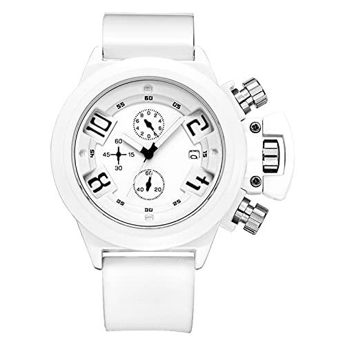 Reloj de Deportes Digital para Hombres LED electrónico LED Moda Impermeable Reloj de Pulsera Casual al Aire Libre Militar Multifunción Multifunción Dobla de Pulsera White