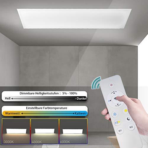 OUBO Deckenlampe LED Panel Deckenleuchte Farbwechsel Pendelleuchte dimmbar 2700-6500K 36W 3500lm Weißrahmen mit Fernbedienung Küchenlampe Wandleuchte