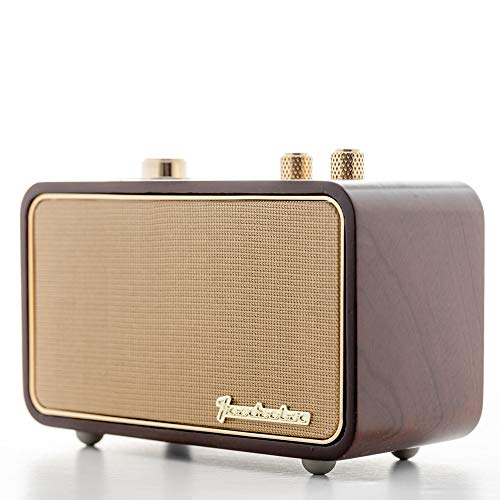 Retro Bluetooth Speaker, TRENBADER.COM Portable Speaker for Home Indoor, Wooden Vintage Small Style, Rechargeable Vintage Radio for Father Elder Old People, 2500mAh, Mic