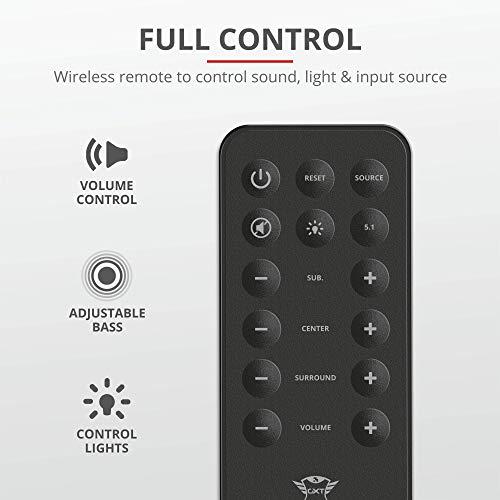 Trust GXT 698 Torro Dolby Digital 5.1 Sound System (Lautsprecher Set mit 180W Surround Sound, RGB Beleuchtung, Fernbedienung, Audio-Eingänge für PC, PS4, Xbox One und TV)