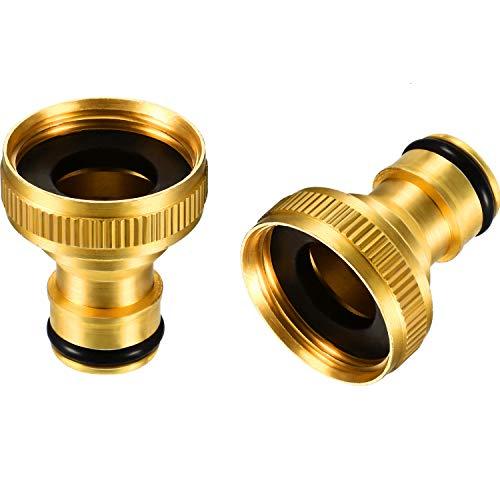 Zhanmai 2 Packungen 3/4 Zoll Messing Gartenschlauch Schlauchanschluss Innengewinde Wasserhahn Adapter (Messing Hahnanschluss C)