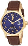 Invicta Men's I-Force 44mm Gold Tone Stainless Steel Watch with Brown Leather Band, Brown (Model: 15255)