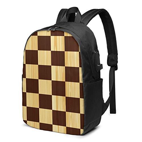 WEQDUJG Mochila Portatil 17 Pulgadas Mochila Hombre Mujer con Puerto USB, Juego de ajedrez Tablero de Madera Tablero de ajedrez Mochila para El Laptop para Ordenador del Trabajo Viaje