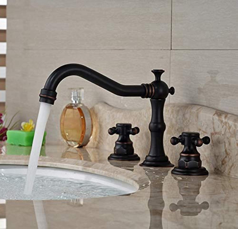 Oudan Faucet Taps Oil Rubbed Bronze Double Handles Basin Mixer Faucet Tap Deck Mount 3 Hole Bathroom Hot Cold Water Tap (color   -, Size   -)