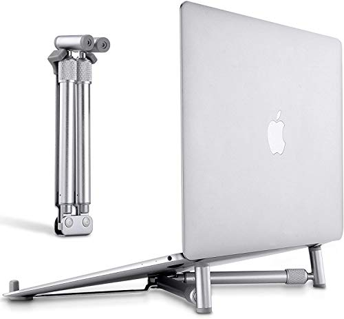 Portable Laptop Stand, Adjustable Laptop Riser, Ergonomic Notebook Holder Desk Aluminum Cooling Foldable X-Shape Stand for MacBook Pro, Dell, and More 12-17 Inches Laptop, Sliver