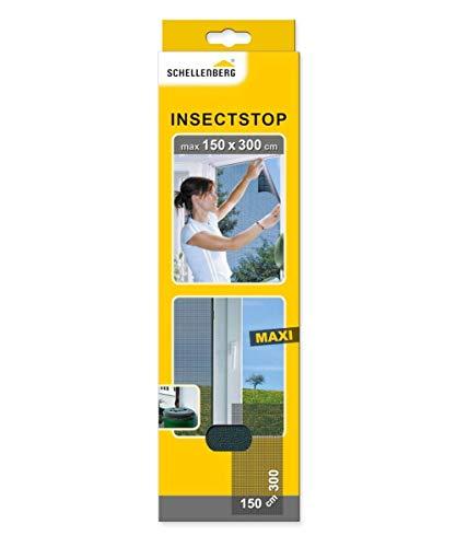 Schellenberg 50325 Fliegengitter für große Fenster Insektenschutz und Mückenschutz ohne Bohren, 150 x 300 cm, anthrazit