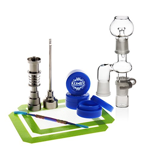 REANICE Box 1-Pack Titan Nail 10mm/14mm/18mm Nail + 3-Pack Non Stick Silikon Wachs Dab Boxcontainer+ 1-Pack Dabber Wax + 2-Pack Silikonmatte + 1-Pack Zubehör Glas Bong + 1-Pack Ash Catcher
