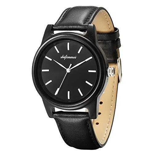 Holzuhr Schwarz, shifenmei S5570 Ultradünne Holzuhr Minimalistisch Holzuhren Holz Armbanduhr Quarz Uhren Partner Geschenke (Schwarz/Leder)