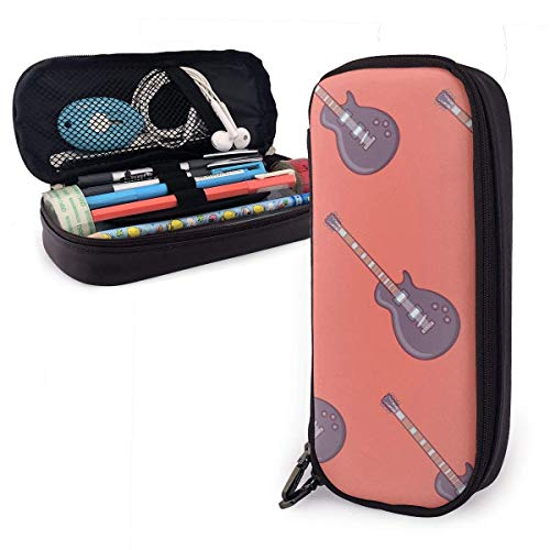 Pencil Case Pen Bag Musical Instruments Black Electric Guitar Pencil Case, Large Capacity Pen Case Pencil Bag Stationery Pouch Pencil Holder Pouch with Big Compartments