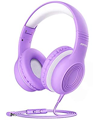 Kids Headphones, Mpow CH6S Children Headphone Over Ear, Wired Headset Volume Limited and Sharing Function Child Earphones Foldable Headphones, 3.5mm Jack with Mic for School/Travel/Phone/Kindle/PC/MP3 by Mpow