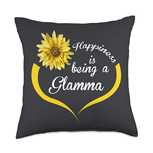 Gifts For Glamma Gift: Happiness is Being A Glamma Throw Pillow, 18x18, Multicolor
