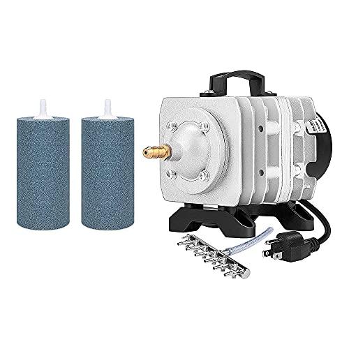 VIVOSUN Air Stone 2PCS 4 X 2 Inch Large Air Stone, and 317GPH Commercial Air Pump 20W, 18L/min, 4 Outlets