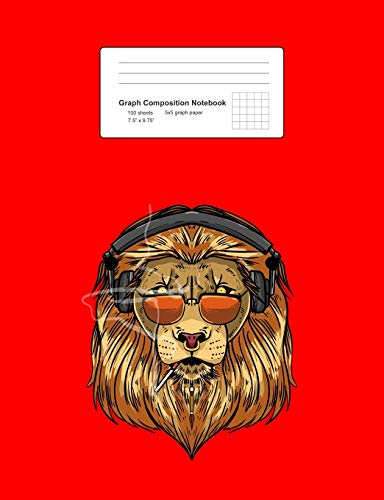 Graph Composition Notebook: Math, Physics, Science Exercise Book - Lion Wearing Headphones Smoking Funny Cool Wild Animal Gift - Red 5x5 Graph Paper - ... Teens, Boys, Girls - 7.5'x9.75' 100 pages