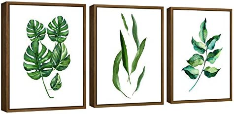 Pyradecor NaturalWood Framed Green Leaves Canvas Prints Wall Art Abstract Watercolor Pictures product image