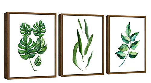 Pyradecor NaturalWood Framed Green Leaves Canvas Prints Wall Art Abstract Watercolor Pictures Paintings for Living Room Bedroom Home Decorations 3pcs Modern Grace Floral Giclee Artwork