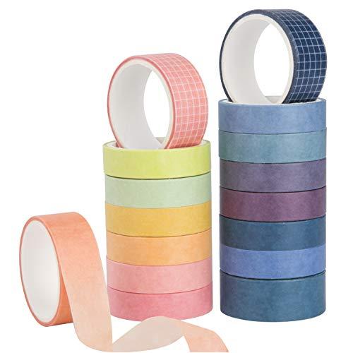 Washi Tape Set Cinta Adhesiva Decorativa Color Sólido para DIY Albumes de Recortes Tarjetas Cuaderno Bullet Journal 16 Rollos