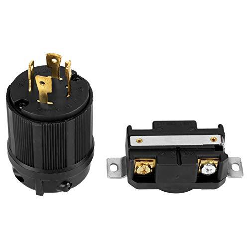 Aviviva Generador de receptáculo Hembra 4 Pines NEMA L14-30 Generador RV AC 125 V-250 V 30A Enchufe y Enchufe Conjunto de receptáculo Macho y Hembra