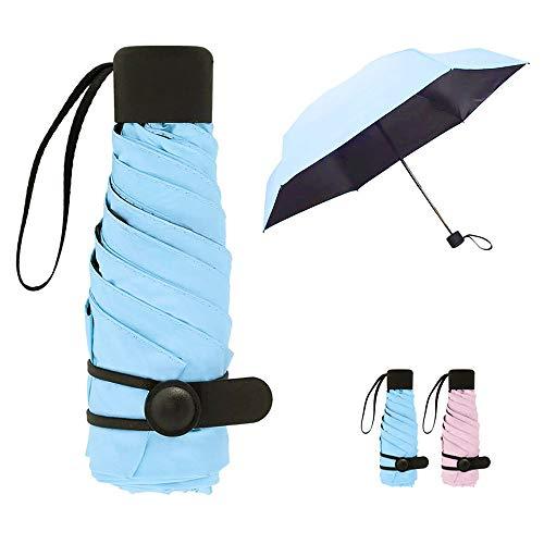 Regenschirm Taschenschirm, Queta Anti-UV Reise Regenschirm Mini Visier Sonnenschutz Regenschirm für Frauen Mädchen Kinder Outdoor-Aktivitäten, UPF50 + (Blau)