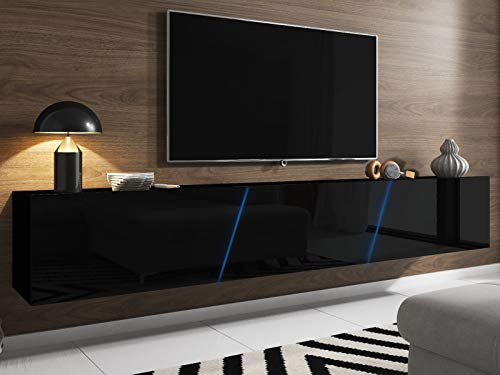 TV-Unterteil in Hochglanz schwarz Lack hängend oder stehend Lowboard Space inkl. RGB Beleuchtung 240 x 35 cm