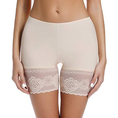Joyshaper Damen Unterhose Unter Rock Kurze Hose Kurze Panty Tight Shorts Sicherheit Shorts Nahtlose Unterwäsche mit Anti-Rutsch Spitzenrand, Beige, 3XL