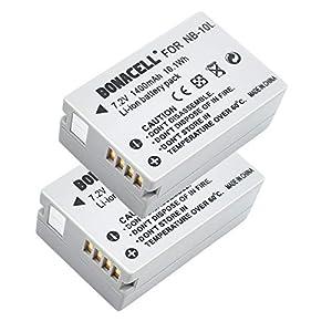 Bonacell - Juego de 2 baterías de Repuesto para cámara Canon NB-10L (1400 mAh, Compatible con Canon PowerShot SX40, SX50, SX60, HS, G15, G16, G1 x G3 x)
