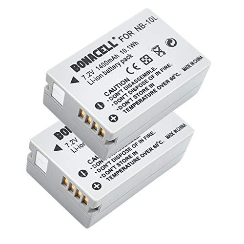 Bonacell - Juego de 2 baterías de Repuesto para cámara Canon NB-10L (1400 mAh,...
