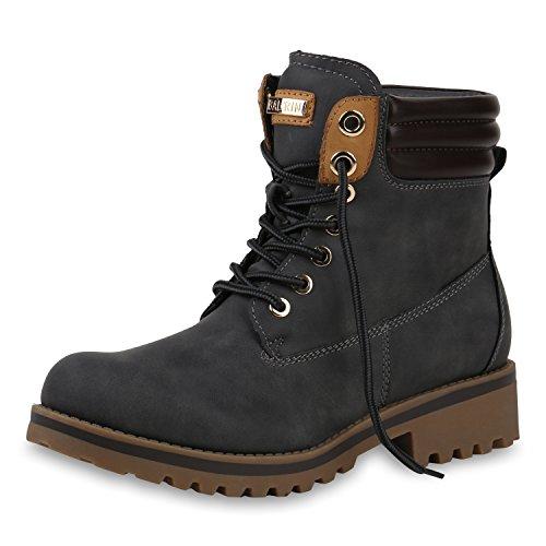 SCARPE VITA Warm Gefütterte Damen Outdoor Stiefeletten Worker Boots 151815 Grau Grey Total 40