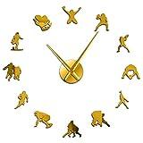 PYIQPL Horloge Murale 3D Football Bricolage géant Horloge Murale Acrylique Effet Miroir garçons Chambre Rugby décor 3D sans Cadre muet Horloge Montre Cadeau pour Lui 47inch (doré)