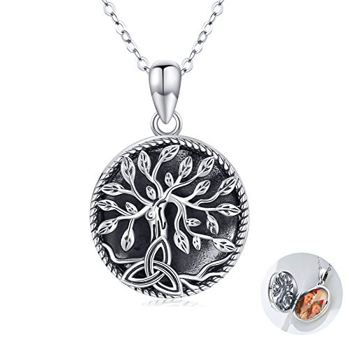 Waysles Locket Necklace That Holds Pictures for Women Sterling Silver Tree of Life Celtic Knot Locket Necklaces for Girls
