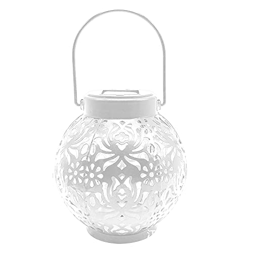 ZJRUI 2Pc Solar Lanterns Outdoor Waterproof Hanging Solar Lights, Portable Solar Chinese Lantern LED Camping Lantern Decor Light for Camp, Garden, Party, Patio, Hollowed out Design (White)
