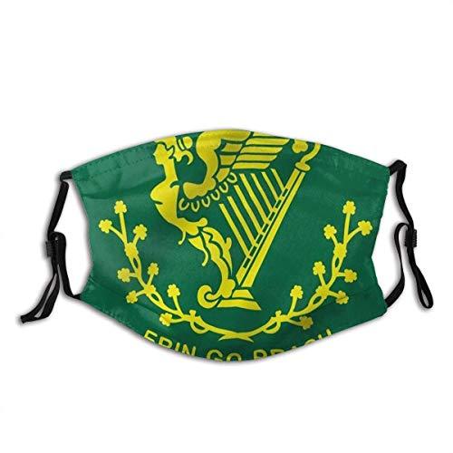 AYGoUP Gesichtsschutz Mundschutz Erin Go Bragh Flagge Irland für Immer Flaggen Wiederverwendbarer Nasenschutz Waschbar staubdicht gegen Verschmutzung Mit Filtern