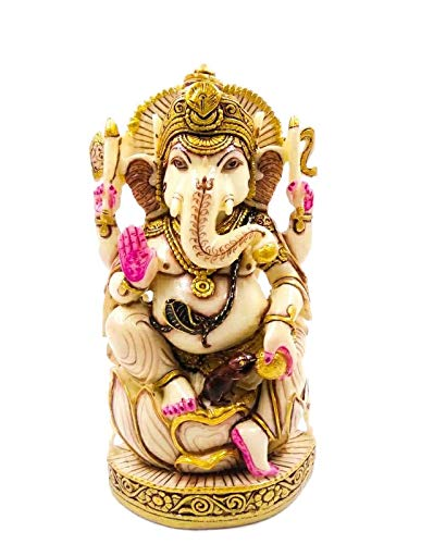 Estatua de Ganesha sentado en loto de 20,32 cm, hecha a mano, estatua de oración divina, regalo de ídolo, diseño antiguo para decoración del hogar, sala de estar o dormitorio (dorado)