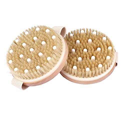 Lotus Supplies - Pack of 2, Hard and Soft Body Brushes for Wet or Dry Brushing. Exfoliate for Softer, Glowing Skin, Cellulite and Dry Skin Removal, Blood Circulation and Lymphatic Drainage Massage