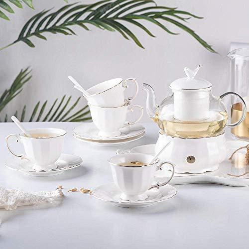 Tetera, tetera de hierro fundido, tetera, set de té y café, set de té de cerámica con flores, té de cristal, té de frutas, té de la tarde, té de oro blanco puro, regalo para decoración del hogar