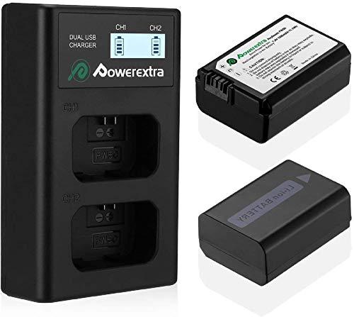 Powerextra Cargador con 2 baterías de repuesto de 1500 mAh, doble cargador y batería cargador LCD doble para Alpha a6500 a6300 a6000 a7s a7 a7s II a7s a51000 a5000 a7r a7 II
