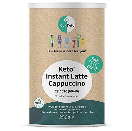Go-Keto MCT Café Latte Capuchino Instantáneo Ceto, 250 g | MCT C8 C10 prémium, 100% de aceite de coco sin aceite de palma | Perfecto para la dieta ceto | Variedad sin endulzar | Paleo, vegano