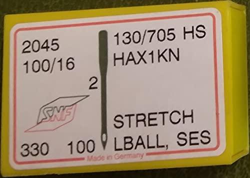 Singer 2045 - Agujas elásticas para máquina de coser, caja de 100 unidades, tamaño 100/16, incluye enhebrador de agujas grandes