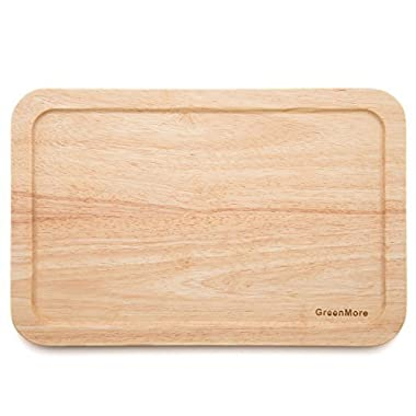 GreenMore Natural Rubber Wood Rectangular Cutting Board with Juice Drip Groove, Best Kitchen Chopping Board for Meat, Cheese and Vegetables (15.8 X 11 X 0.6 Inches)