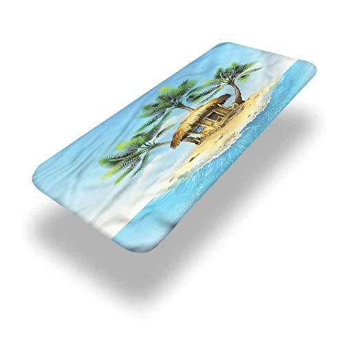 LCGGDB Mantel ajustable de poliéster tropical para mesa de picnic, bungalow con palmera elástica con borde de palmera, 24 x 48 pulgadas (4 pies), para camping, comedor, al aire libre, parque, patio