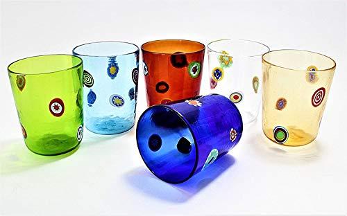 Vinciprova Le Gemme di Venezia Set 6 Bicchieri Goto Veneziano Murrine Millefiori Murano Glasses Made in Italy