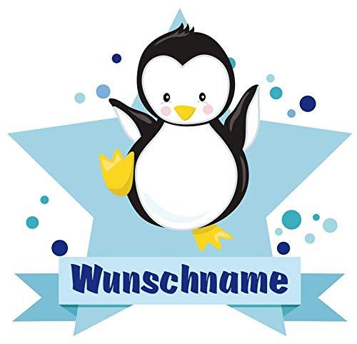 Samunshi® Baby Pinguin Wandtattoo Türschild mit Name personalisierbar Kinderzimmer Türaufkleber Baby Wandaufkleber in 9 Größen (25x22cm Mehrfarbig)